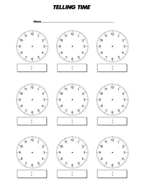 digital clock template printable blank clock faces templates activity shelter