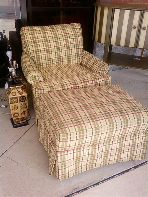 plaid chair and ottoman plaid chair ottoman by newleafgalleries via flickr