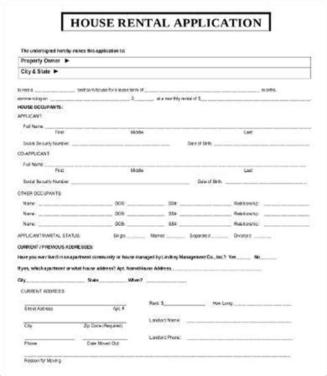 house rental application form template free rental application templates 10 free word pdf