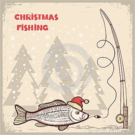 christmas fishing card  fish  red santa hat royalty  stock photo image