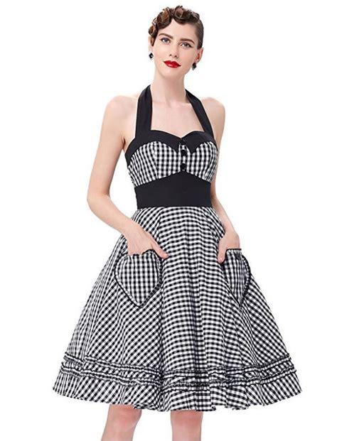 swing style mode 50s vintage style gingham halter swing retro dress black