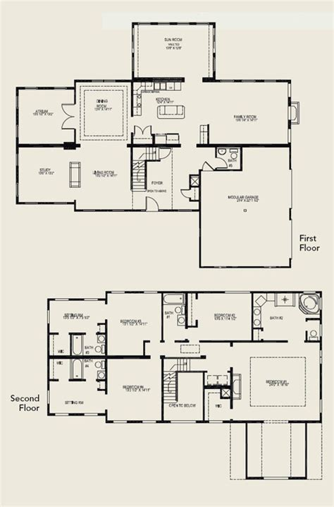 2 story 4 bedroom floor plans two story house plans