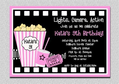 printable birthday invitations movie theme free movie birthday invitations pink movie night birthday