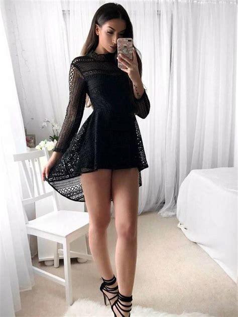 black dress long sleeve homecoming dresses short