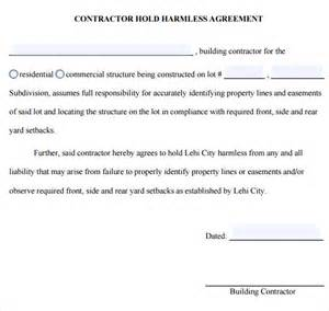 hold harmless waiver template sle hold harmless agreement 8 documents in pdf word