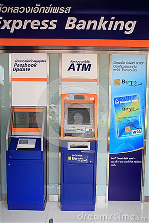 bangkok bank atm automatic teller machine atm of bangkokbank editorial
