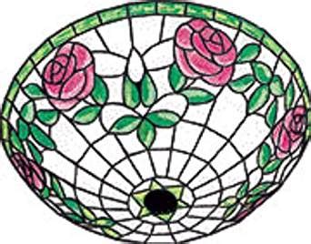 leaded glass ceiling light with flower pattern 17 quot wide 3r gf16 17 mirrored rose ceiling stained glass 16 inch