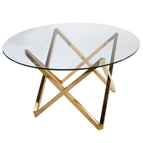 Galvin Dining Table Gold Glass Round Dining Table Dining Tables Glass