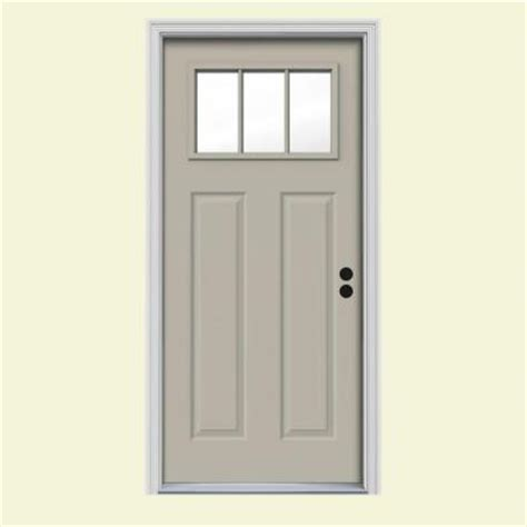 jeld wen craftsman 3 lite painted steel prehung front door