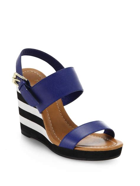 kate spade bina striped wedge leather sandals in blue