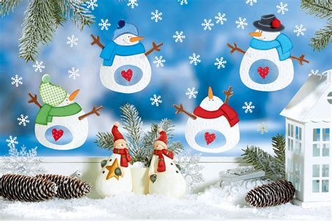 Fensterbilder Weihnachten Basteln Kostenlos by Fr 246 Hliches Schneemann Fensterbild Familie De