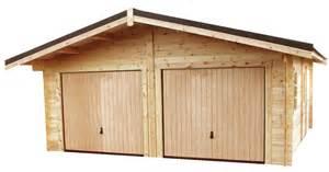 garage pour deux voiture en madriers massif bois