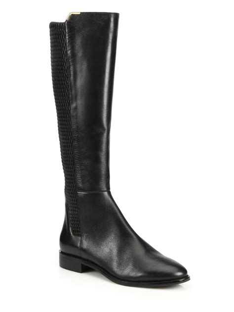 cole haan knee high boots cole haan rockland leather knee high boots in black lyst