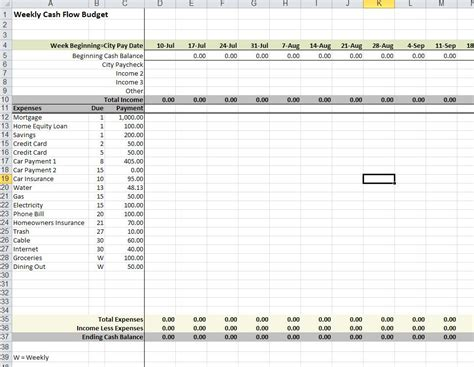 Budget Suggestions And Weekly Cash Flow Tool For Employees City Of Boise Weekly Flow Template