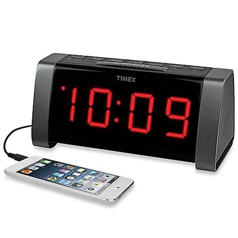 buy timex 174 am fm jumbo display dual alarm clock radio in black from bed bath beyond