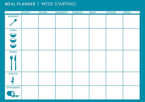 meal plan template excel printable weekly planner 2016 calendar template 2016