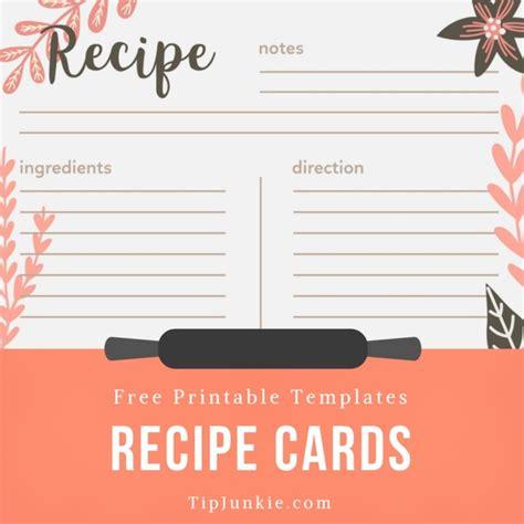recipe card template   printables tip junkie