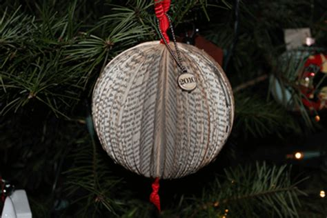 something created everyday recycled book christmas ornament