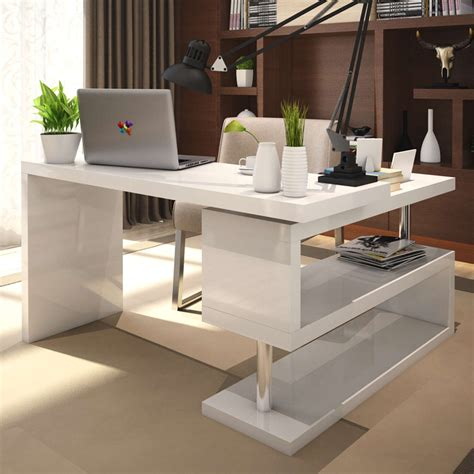 White Gloss Office Desk White High Gloss Rotating Office Desk Furniturebox