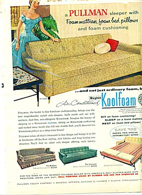 pullman couch company pullman couch company ad 1956 furniture couch sofa