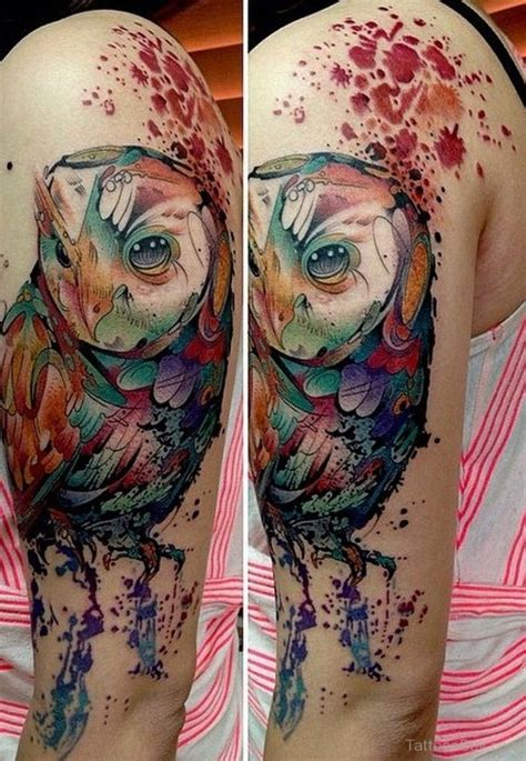 watercolor owl tattoo on half sleeve tattoo designs