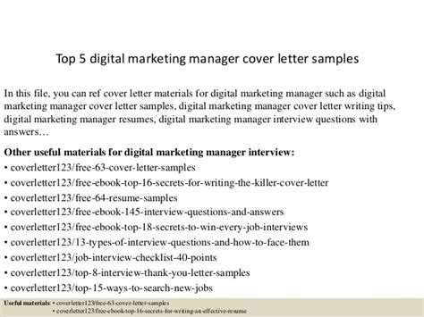 Digital Imaging Specialist Cover Letter by Top 5 Digital Marketing Manager Cover Letter Sles