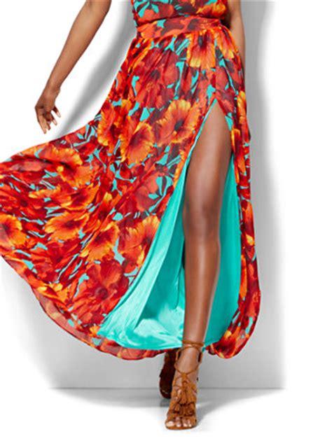 ny c 7th avenue chiffon overlay maxi skirt floral