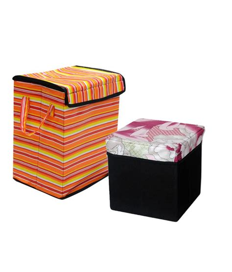 Christy S Laundry Box With Small Storage Stool Set Of 2 Laundry Stool