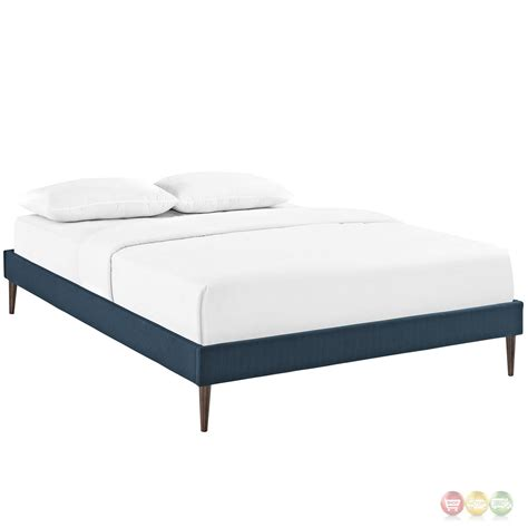 Padded King Bed Frame Sherry Upholstered Fabric King Platform Bed Frame Azure