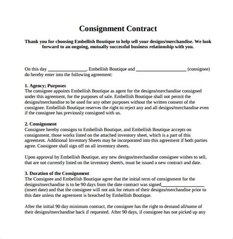 8 Sle Consignment Agreements Sle Templates Artist Consignment Agreement Template