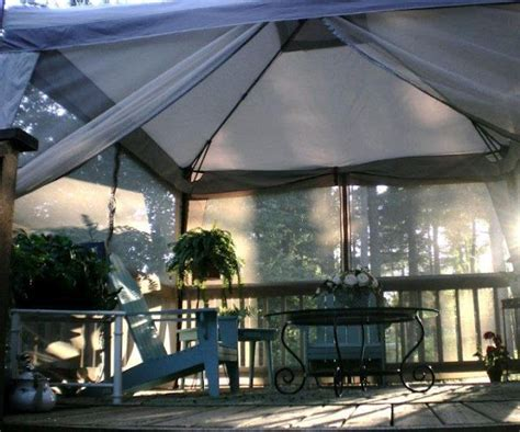 using an inexpensive portable canopy screen room on deck