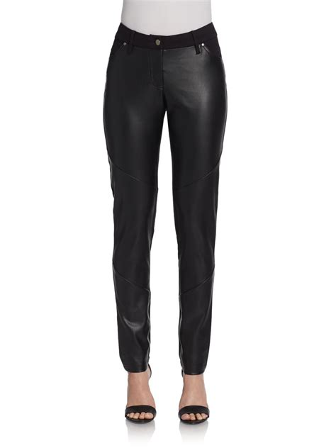 Avenue Black saks fifth avenue black label vegan leather paneled