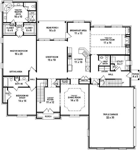 house plans 4 bedrooms one floor 654732 4 bedroom 4 5 bath house with open floor plan house plans floor plans