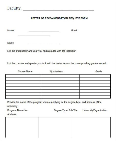 Letter Of Recommendation Request Form Template 21 recommendation letter templates in doc free