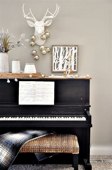 christmas decor piano area trees cheer and holiday