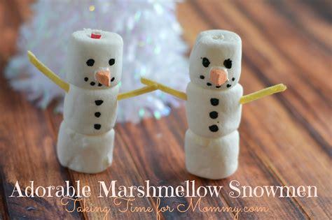 easy crafts for marshmallow snowmen marshmallow snowmen