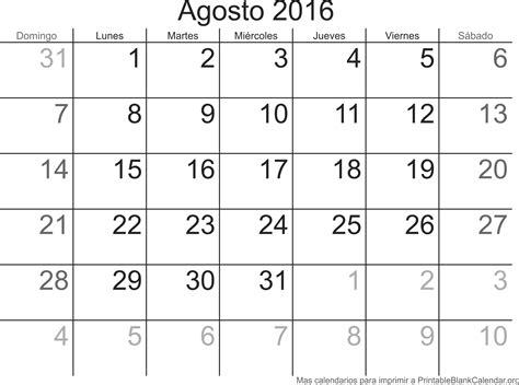 Calendario Agosto Calendario Agosto 2016 Calendarios Para Imprimir