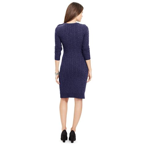 cable knit sweater dresses ralph cable knit sweater dress in blue navy lyst