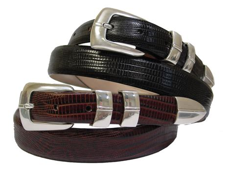 big and mens dress belt lizard printcalf skin leather