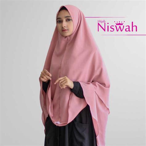 Best Seller Isaura Syar I kerudung khimar syar i pink daissy seri 001 niswah best seller
