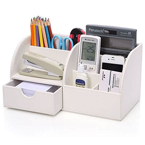 Kingom 7 Storage Compartments Multifunctional Pu Leather White Leather Desk Accessories