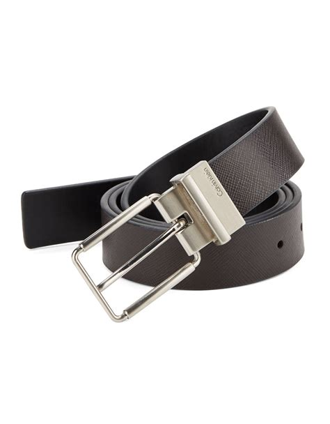 calvin klein reversible leather belt in brown for