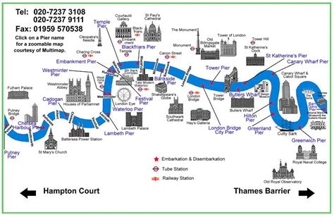 River Thames Attractions Map | river thames map