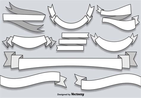 vector flat blank banners ribbons   vectors