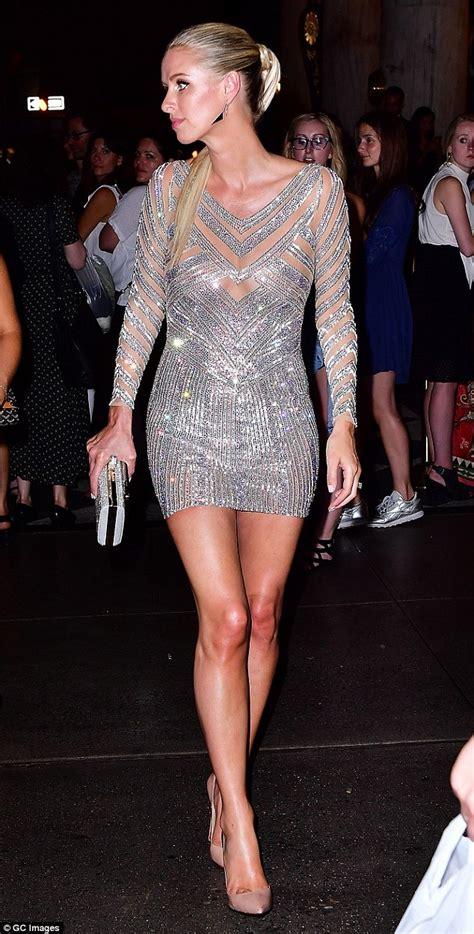 Premium Mini Dress Import Original Semi Formal M nicky wears a semi sheer sequin dress at s bazaar daily mail