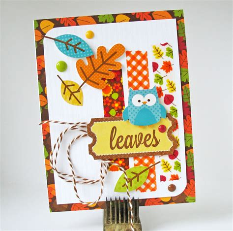 doodlebug happy harvest card leaves doodlebug