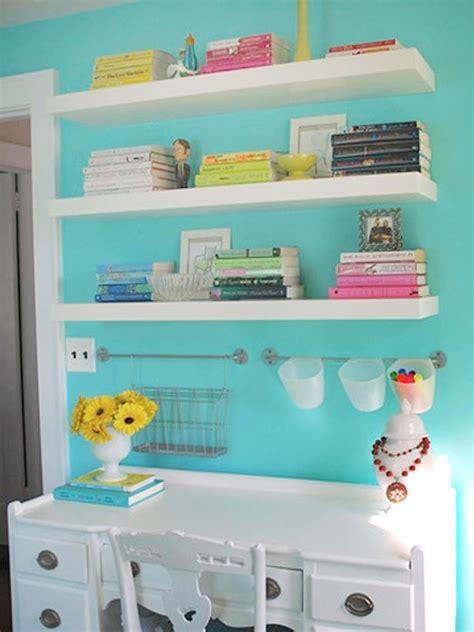 floating shelves above the desk nursery children