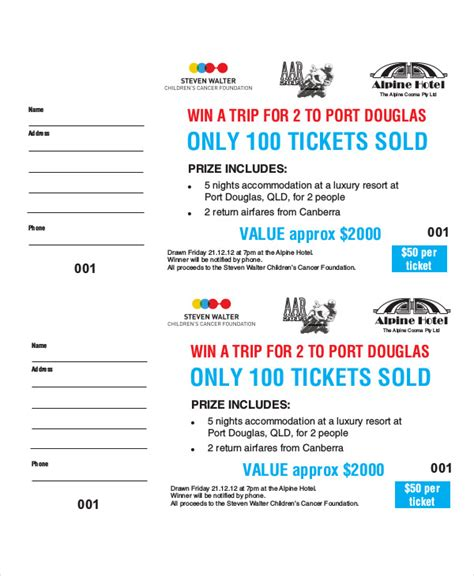 Printable Raffle Ticket Template 18 Free Word Excel Pdf Documents Download Free Premium Raffle Ticket Template