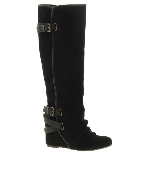 aldo caltabiano wedge knee boots in black lyst