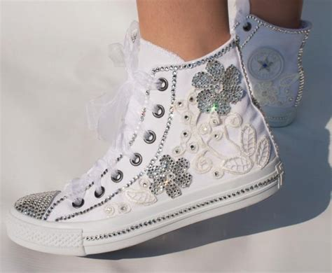 Wedding Shoes With Pearls And Crystals by Wedding Converse High Top Wedding Trainers With